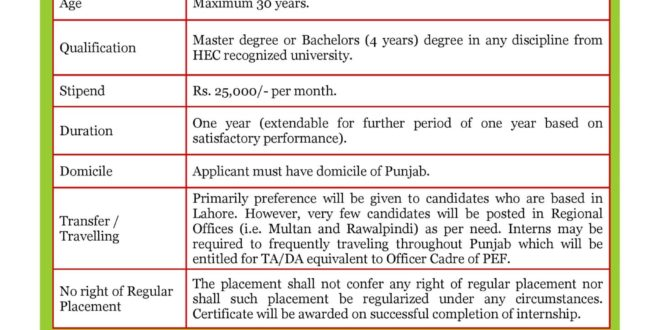 Punjab education foundation internship 2018