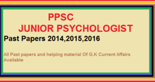 PPSC JUNIOR PSYCHOLOGIST Past Papers 2014,2015,2016