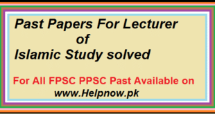 FPSC Past Papers For Lecturer of Islamic Study solved