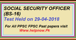 Ppsc social security officer Paper