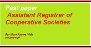 past paper of Assistant Registrar of Cooperative Societies
