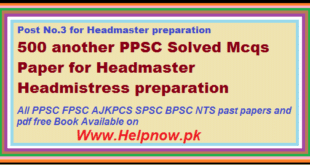 MCQs For PPSC Headmasters & headmistress test