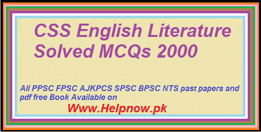 CSS English Literature Solved MCQs 2000