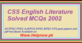 CSS English Literature Solved MCQs 2002