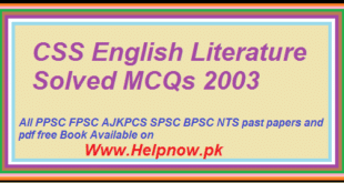 CSS English Literature Solved MCQs 2003