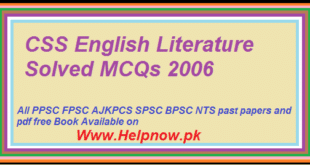 CSS English Literature Solved MCQs 2006