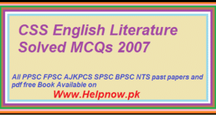 CSS English Literature Solved MCQs 2007