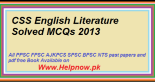 CSS English Literature Solved MCQs