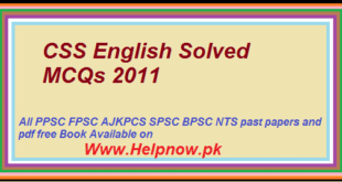 CSS English Solved MCQs 2011