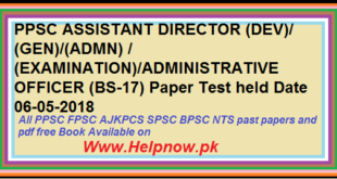 PPSC ASSISTANT DIRECTOR ADMINISTRATIVE OFFICER Paper