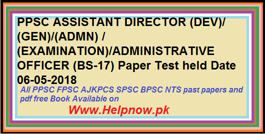 PPSCASSISTANT DIRECTOR ADMINISTRATIVE OFFICER Paper