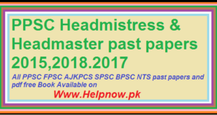 PPSC Headmaster Past Papers solved