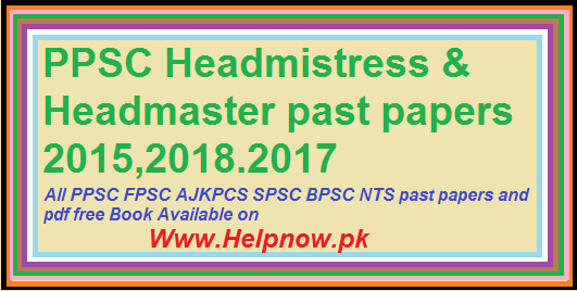 PPSC Headmistress & Headmaster past papers
