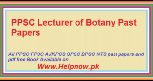 PPSC Lecturer of Botany Past Paper