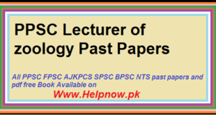 PPSC Lecturer of zoology Past Papers