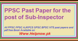 PPSC Past Paper of Sub Inspector