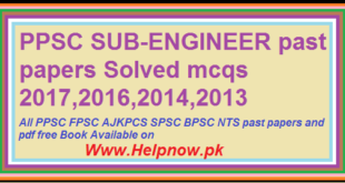 PPSC SUB-ENGINEER past papers Solved