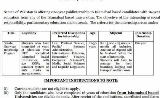 Application Form Senate of Pakistan One Year Paid Summer
