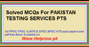 Solved MCQs For PAKISTAN TESTING SERVICES PTS