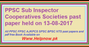 PPSC Past Paper of Sub-Inspector