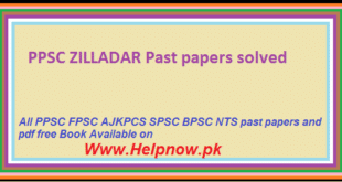 PPSC ZILLADAR Past papers solved