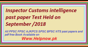 Inspector Customs intelligence past paper Test Held on September 2018