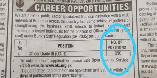Zarai Taraqiati Bank Ltd Jobs 2018