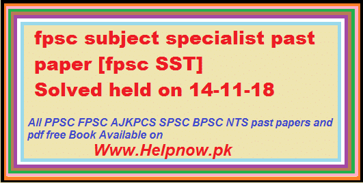 Fpsc past paper of subject specialist