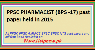 ppsc PHARMACIST past paper