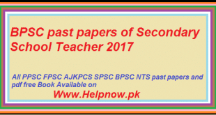 BPSC past papers of Secondary School Teacher