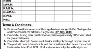 Jobs in Multan CANTONMENT BOARD 2019