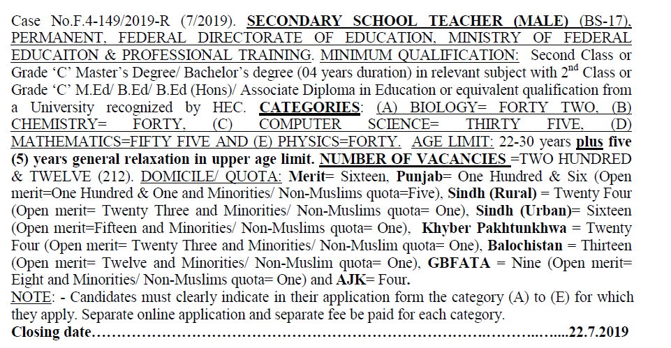 Fpsc SECONDARY SCHOOL TEACHER jobs 2019 (MALE) (BS-17)