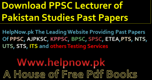 PPSC Lecturer of Pakistan Studies Past Papers